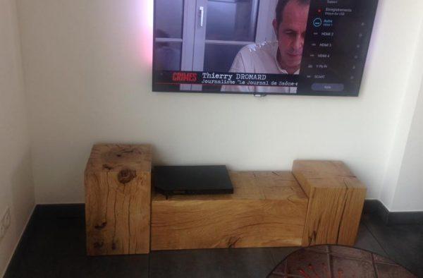 meuble TV en cube chêne