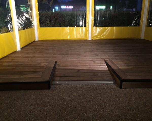 terrasse en pin lisse traité marron
