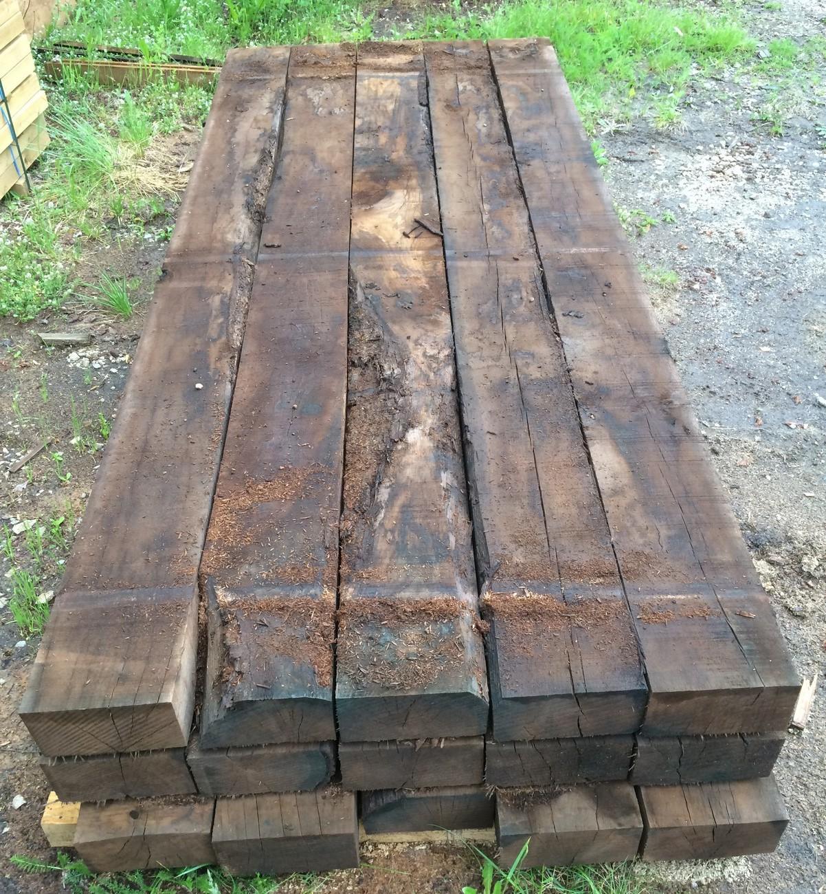 Traverses paysag res en ch ne traite autoclave marron top bois direct - Traverse en chene ...